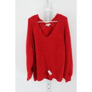 WOMEN'S PLUS SIZE V-NECK PULLOVER SWEATER RED X